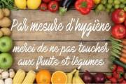 Pancarte ne pas toucher aux fruits et légumes - 2 formats - PVC ou PS