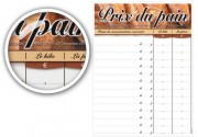 Pancarte tarifs boulangerie - Dimensions (cm) : 30 x 40