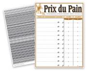 Pancarte tarifs pour pain - Dimensions (cm) : 30 x 40