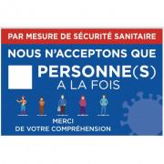 Pancarte mesure de sécurité sanitaire - Dimensions : 30 x 20 cm - Matière : PVC blanc - Attachement : 2 bandes adhésives