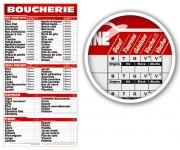 Panneau à tarifs boucherie - Dimensions (cm) : 44 x 60 - 60 x 90 - 60 x 115