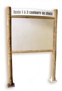 Panneau affichage bois avec bandeau - Hauteur : 2800 mm - Poteaux carré section : 120 x 120 mm