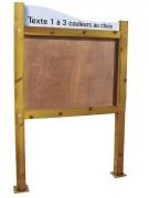 Panneau affichage en bois avec bandeau - Poteaux carré section : 120 x 120 mm