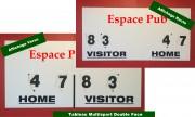 Panneau affichage score manuel multisport RECTO VERSO - Dimensions: 120 x 60 cm