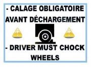 Panneau avertissement cale roue - Dimensions du panneau PVC (L x l) : 300 x 400 mm