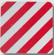 Panneau carré strié rouge et blanc