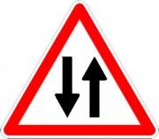Panneau circulation double sens A18 - Dimensions : de 500 à 1500 mm - Norme CE et NF - Type A