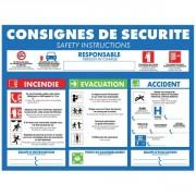 Panneau consigne d'urgence pour hôtels - Vendu à l'unité