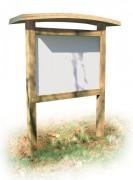 Panneau d'affichage bois avec toiture galbée - Poteaux carrés / H 750 x L 1160 mm ou H 950 x L 1360 mm