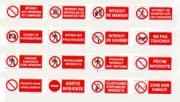 Panneau d'affichage d'interdiction - Avec bandeau - Dimensions: 330x75 - 330x120 - 330x200