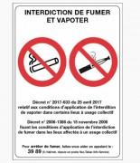 Panneau d'affichage « Interdiction de fumer et vapoter » - 15 x 21 ou 21 x 30 cm