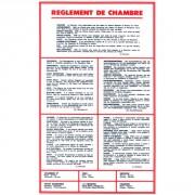 Panneau d'affichage règlement pour hôtel
