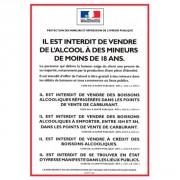 Panneau d'affichage vente d'alcool station service - Format : A4 ou A5