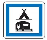 Panneau d'indication camping pour tentes et caravanes CE4c - Dimensions (mm) : de 350 à 1050 - Norme CE et NF - Type CE