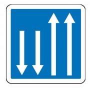 Panneau d'indication d'un créneau de dépassement C29a - Dimensions (mm) : de 350 à 1050 - Norme CE et NF - Type C