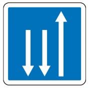 Panneau d'indication d'un créneau de dépassement en France C29c - Dimensions (mm) : de 350 à 1050 - Norme CE et NF - Type C