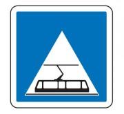 Panneau d'indication d'une traversée de tramway C20c - Dimensions (mm) : de 350 à 1050 - Norme CE et NF - Type C