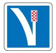 Panneau d'indication d'une voie de détresse à droite C26a - Dimensions (mm) : de 350 à 1050 - Norme CE et NF - Type C