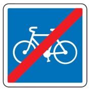 Panneau d'indication de la fin d'une voie conseillée et réservée aux cyclistes C114 - Dimensions (mm) : de 350 à 1050 - Norme CE et NF - Type C