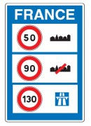 Panneau d'indication de limitations générales de vitesse C25a - Dimension (mm) : de 600 x 800 à 1600 x 2400