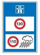 Panneau d'indication de limitations générales de vitesse en entrée de territoire C25b - Dimension (mm) : de 600 x 800 à 1600 x 2400
