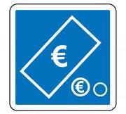 Panneau d'indication de paiement par pièces et billets C64c2 - Dimensions (mm) : de 350 à 1050 - Norme CE et NF - Type C