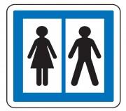 Panneau d'indication toilettes publiques CE12 - Dimensions (mm) : de 350 à 1050 - Norme CE et NF - Type CE
