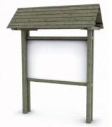 Panneau d'information en bois avec toit hauteur 300 cm - Hauteur poteau (cm) : 300