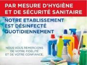 Panneau d'information établissement désinfecté - 20 x 15 cm - Bandes adhésives - PVC 75 / 100ème