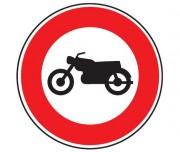 Panneau d'interdiction au motocyclette B9h - Dimensions : de 450 à 1250 mm - Norme CE et NF - Type B