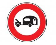 Panneau d'interdiction au véhicule caravane B9i - Dimensions : de 450 à 1250 mm - Norme CE et NF - Type B