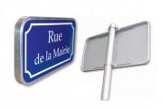 Panneau de rue en aluminium naturel - Dimensions (mm) : 450 x 250 - 500 x 300