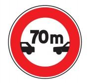 Panneau de signalisation d'un intervalle minimal 70m B17