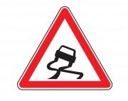 Panneau de signalisation de chaussée glissante A4 - Dimensions : de 500 à 1500 mm - Norme CE et NF - Type A