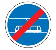 Panneau fin de voie réservée au tramway B45b - Dimensions (mm) : de 450 à 1250 - Norme CE et NF - Type B