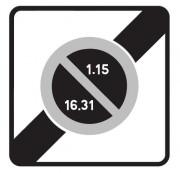 Panneau fin zone stationnement unilatéral semi mensuel B50b - Dimensions (mm) : 500 - 700 - Norme CE et NF - Type B