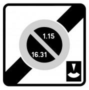Panneau fin zone stationnement unilatéral semi mensuel durée limitée B50e - Dimensions (mm) : 500 - 700 - Norme CE et NF - Type B