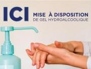 Panneau gel hydroalcoolique disponible - 30 x 20 cm - Bandes adhésives - PVC 75 / 100ème