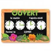 Panneau horaire pour fleuriste - Dimensions (cm) : 21 x 15