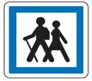 Panneau indication départ d'itinéraire à pied CE6a - Dimensions (mm) : de 350 à 1050 - Norme CE et NF - Type CE
