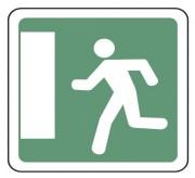 Panneau indication issue de secours gauche CE30b - Dimensions (mm) : de 350 à 1050 - Norme CE et NF - Type CE