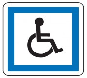 Panneau indication personnes handicapées CE14 - Dimensions (mm) : de 350 à 1050 - Norme CE et NF - Type CE