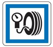 Panneau indication station de gonflage CE26 - Dimensions (mm) : de 350 à 1050 - Norme CE et NF - Type CE