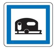 Panneau indication terrain pour caravanes CE4b - Dimensions (mm) : de 350 à 1050 - Norme CE et NF - Type CE
