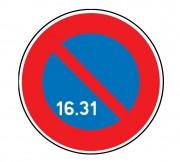 Panneau interdiction stationner 16 au 31 du mois B6a3 - Dimensions : de 450 à 1250 mm - Norme CE et NF - Type B