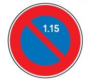 Panneau interdiction stationner 1er au 15 du mois B6a2 - Dimensions : de 450 à 1250 mm - Norme CE et NF - Type B