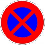 Panneau interdiction stationner ou arrêter B6d - Dimensions : de 450 à 1250 mm - Norme CE et NF - Type B