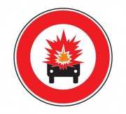 Panneau interdiction véhicule transportant marchandise explosive B18a - Dimensions : de 450 à 1250 mm - Norme CE et NF - Type B