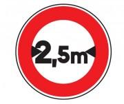 Panneau interdit au véhicule plus de 2.5 m B11 - Dimensions : de 450 à 1250 mm - Norme CE et NF - Type B