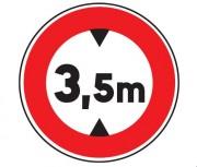 Panneau interdit au véhicule plus de 3.5 m B12 - Dimensions : de 450 à 1250 mm - Norme CE et NF - Type B